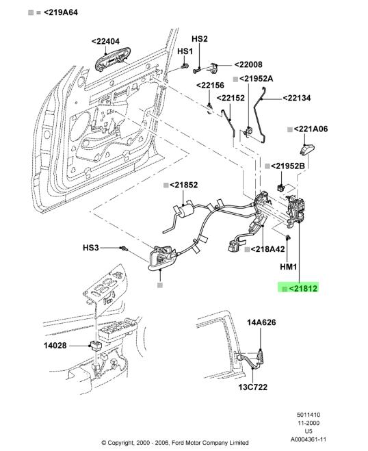 front door latch mechanism part diagram
