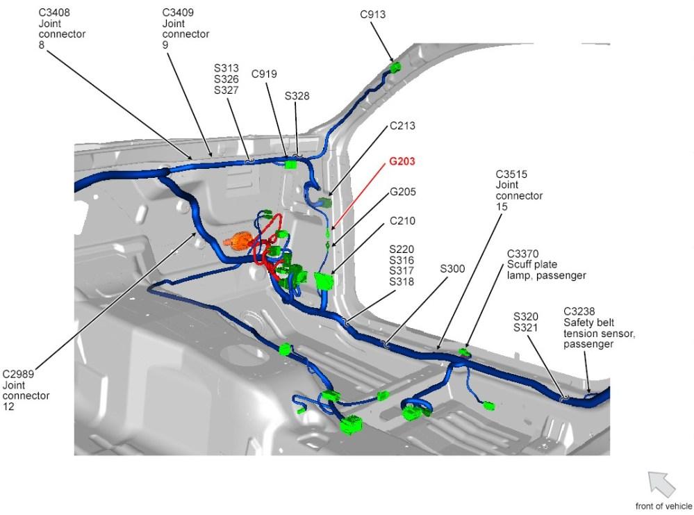 medium resolution of 2013 14 mustang g203 ground rh front kick panel jpg