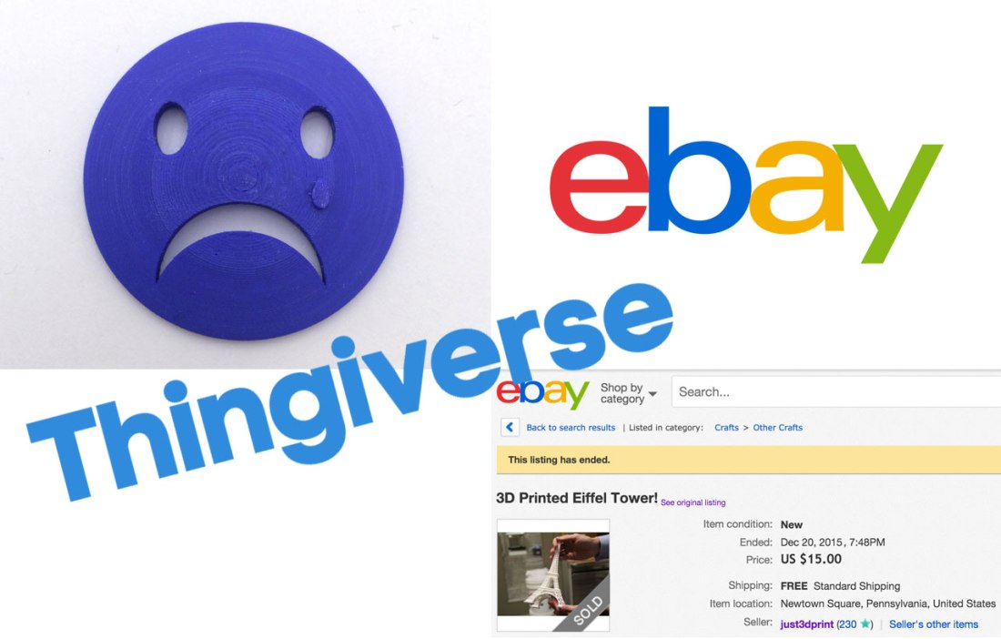 "Thingiverse ""Free"" Designs are Up for Sale on eBay Store"