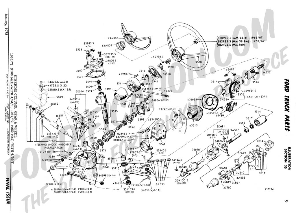 Ford Truck Part Numbers (Steering Column & Related