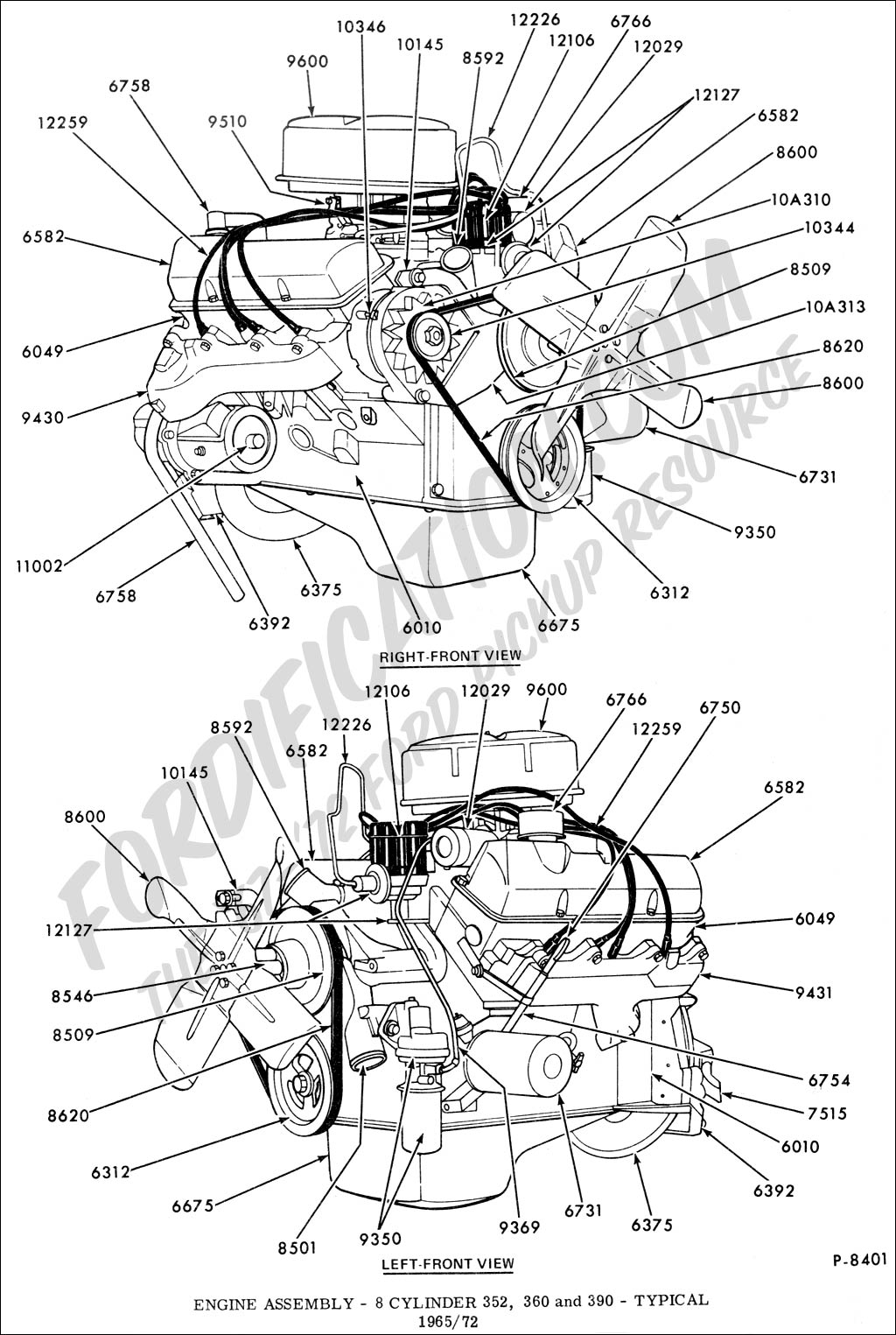 hight resolution of engine assembly 8 cylinder 352 360 390 fe typical