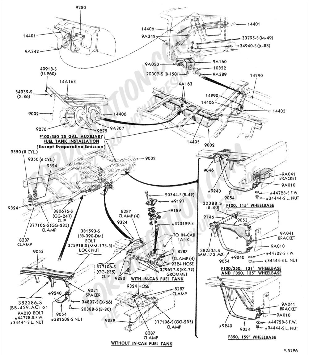 medium resolution of ford truck technical drawings and schematics section e engineauxiliary under cab fuel tank 1967 1972 f100