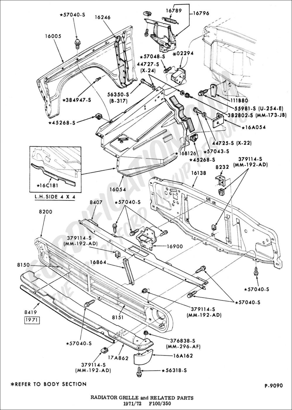medium resolution of radiator grille and related parts
