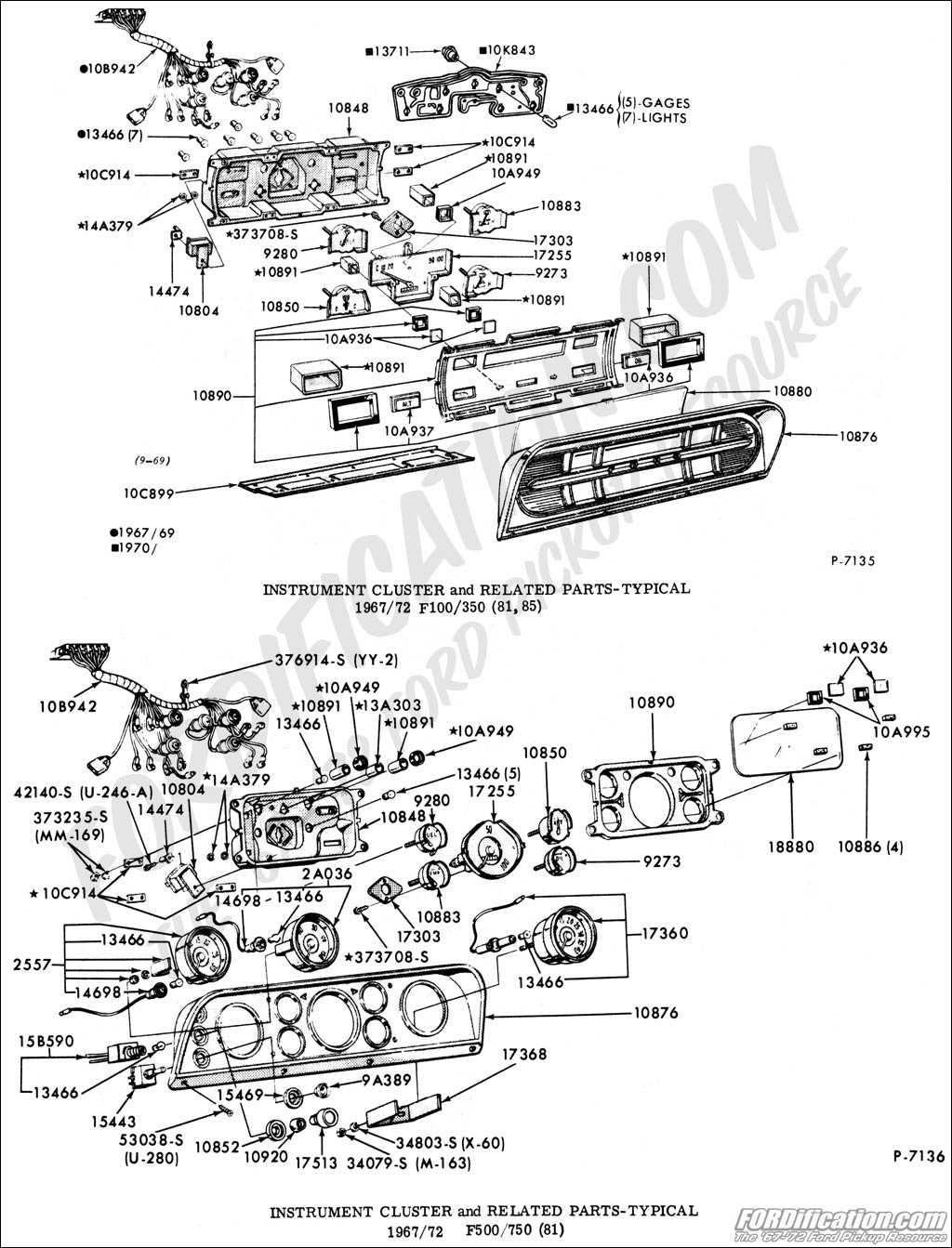 Ford Truck Part Numbers (Instrument Panel & Related