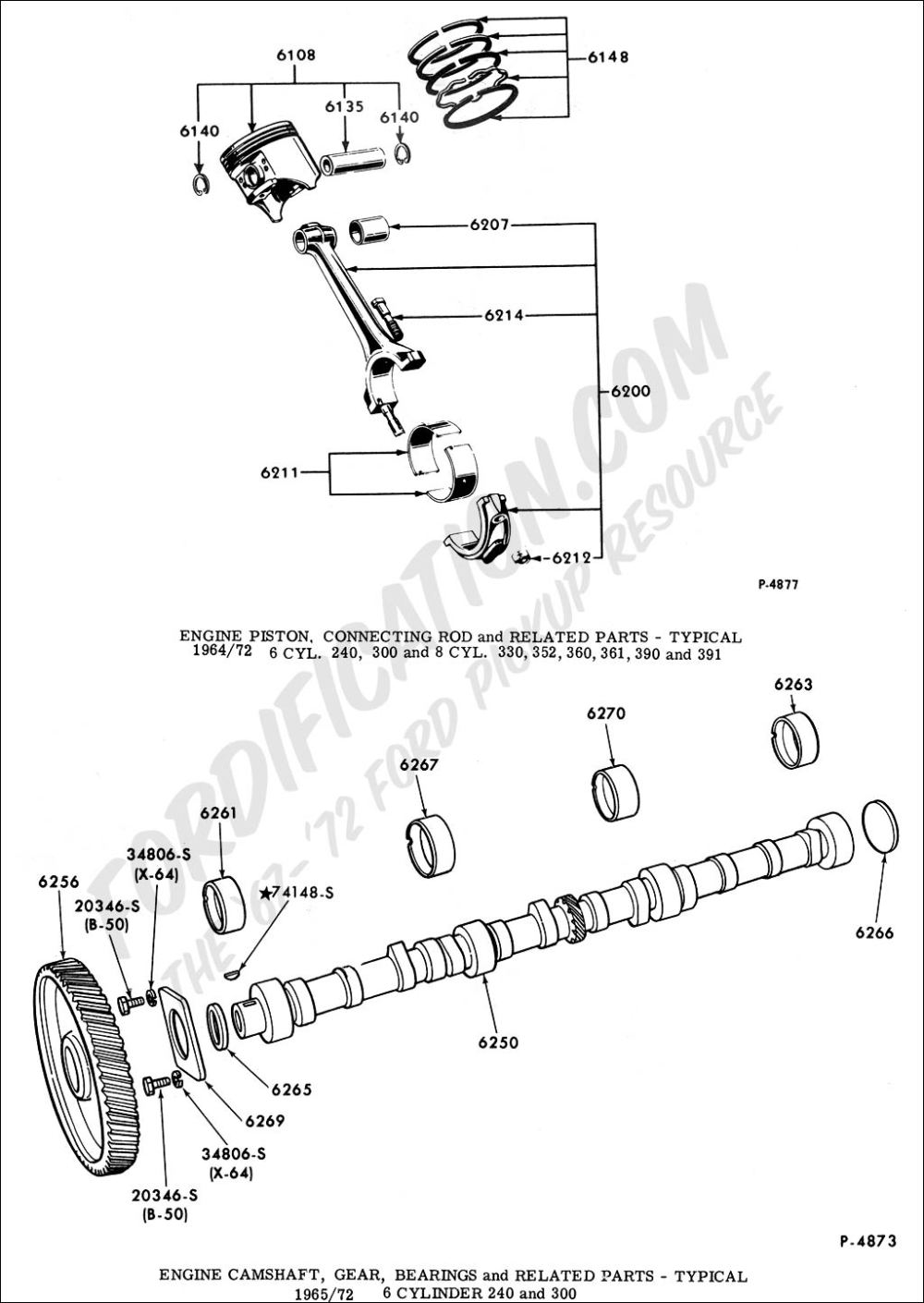 medium resolution of engine piston connecting rod and related parts typical 1964 1972 6 cyl 240 300 and 8 cyl 330 352 360 361 390 and 391