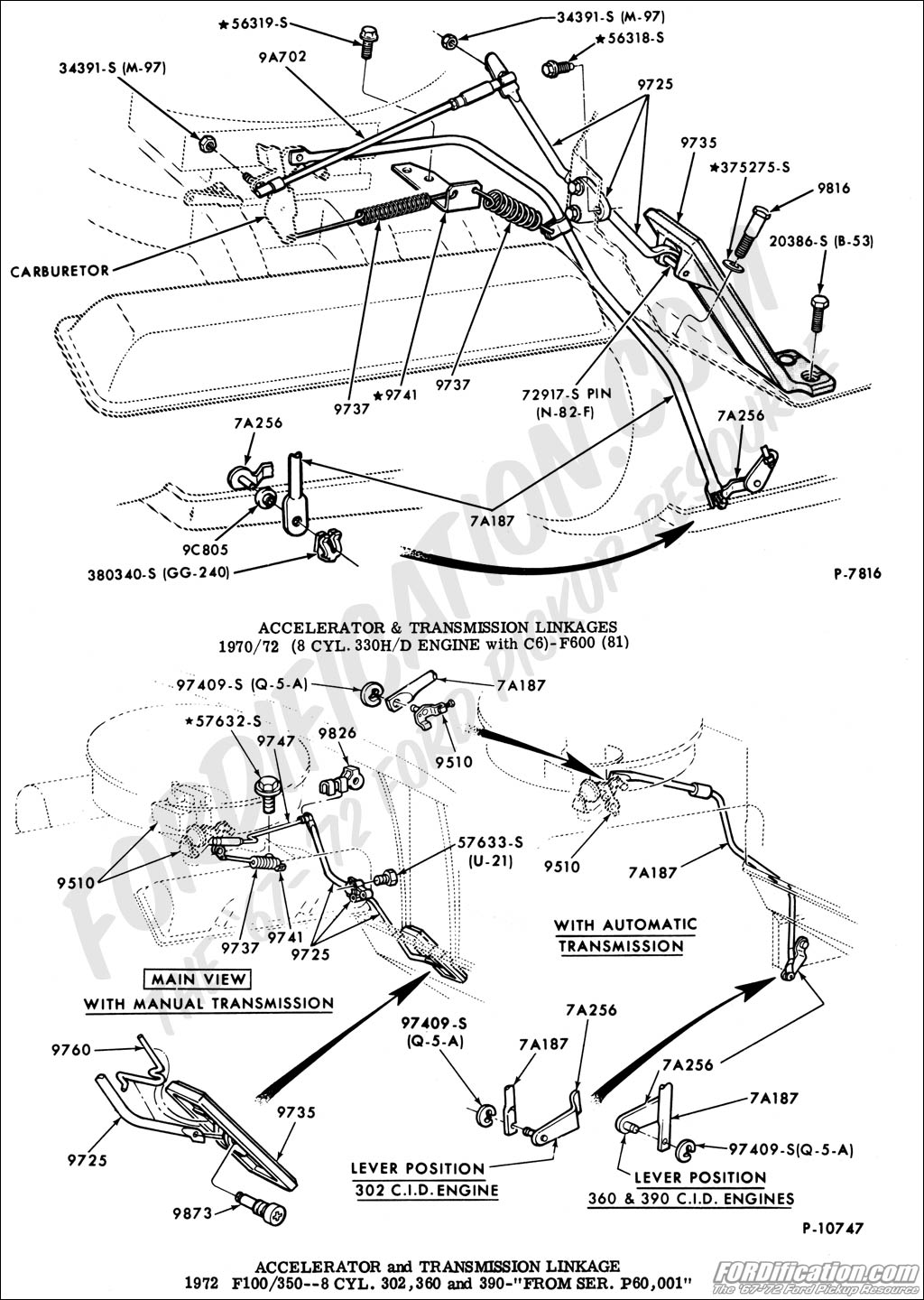 throttle linkage and kick down linkage for 1972 F100 360 2