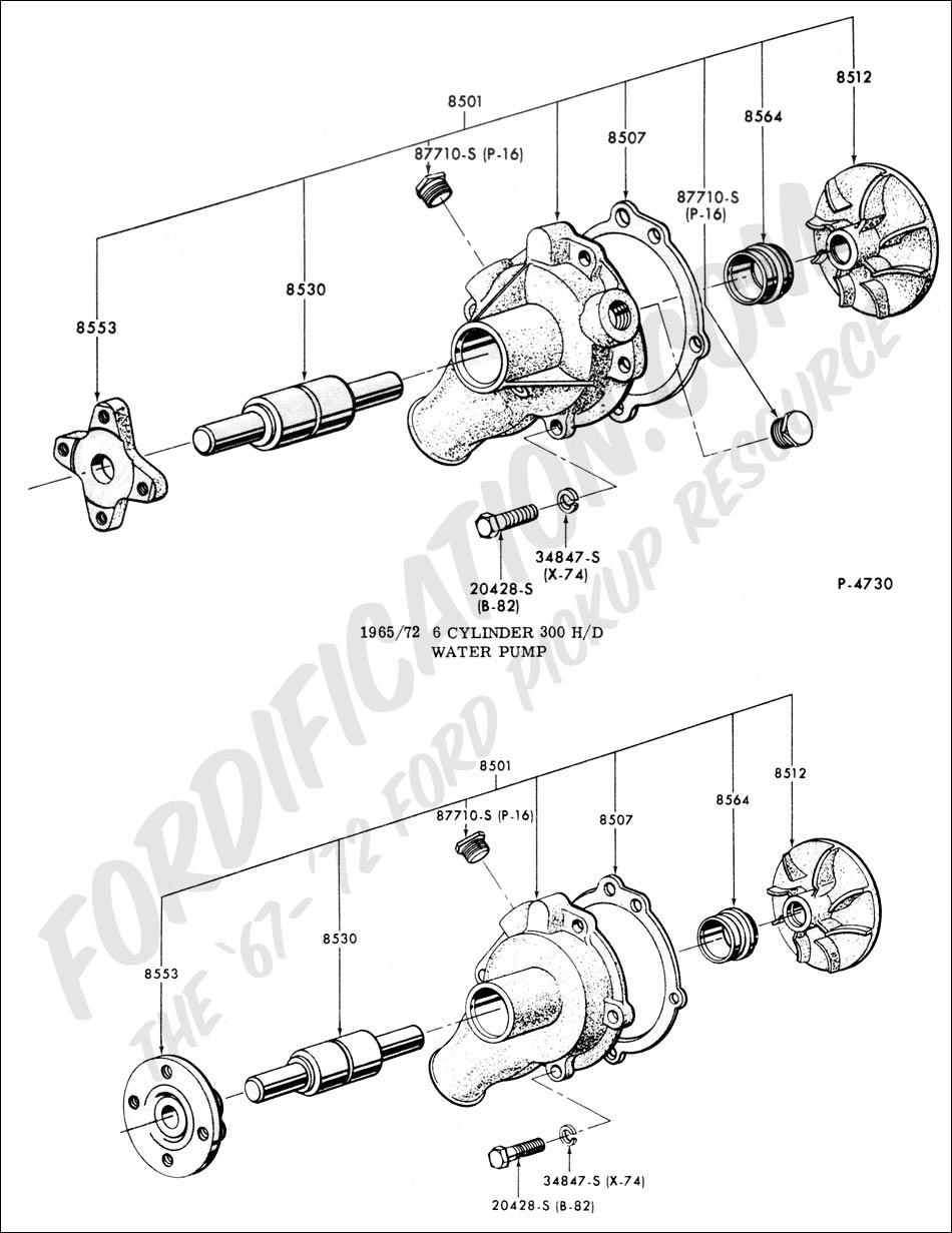 Water pump 1965 1972 6 cylinder 300 h d 1965 1972 6 cylinder 240
