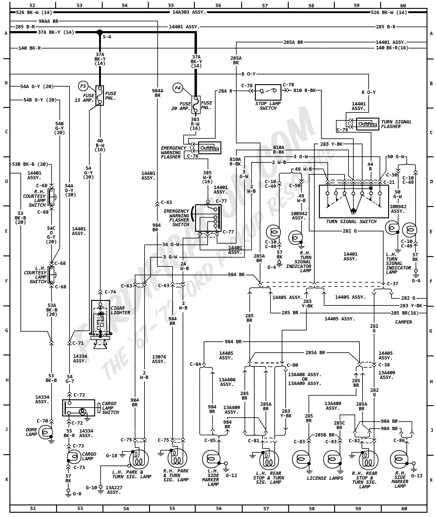 hight resolution of 1972 ford truck wiring diagrams fordification comcargo lamp j 53 6