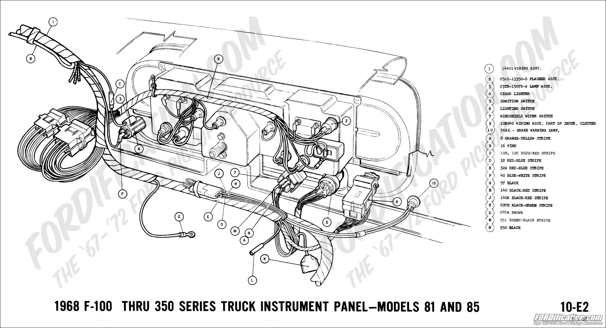 hight resolution of ford truck technical drawings and schematics section h wiring1968 f 100 thru f 350 instrument panel