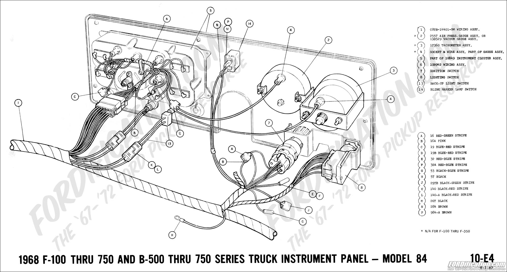 hight resolution of 1968 f 100 thru f 750 and b 500 thru f 750 instrument panel model 84