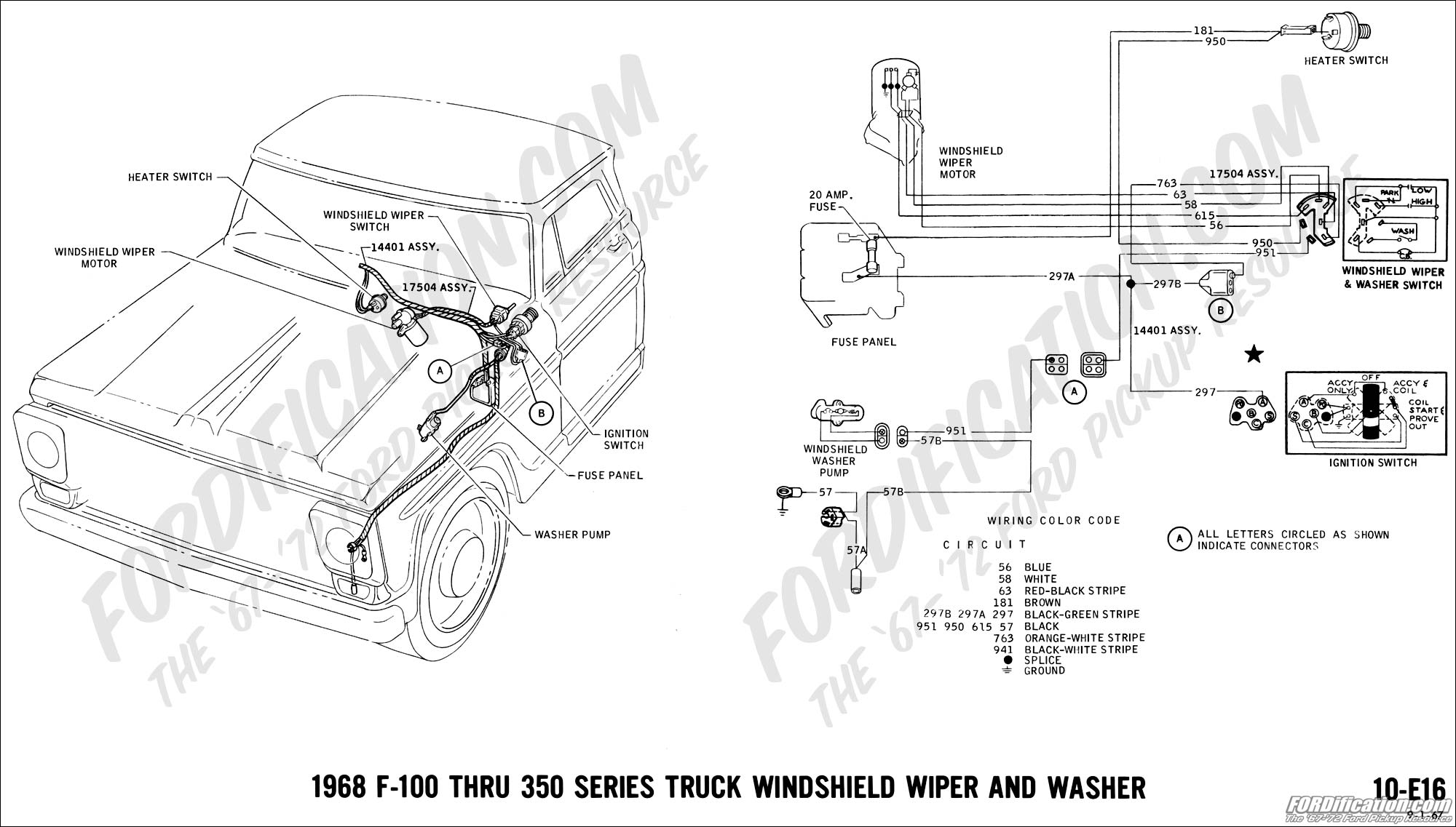 hight resolution of 1968 f 100 thru f 350 windshield wiper and washer