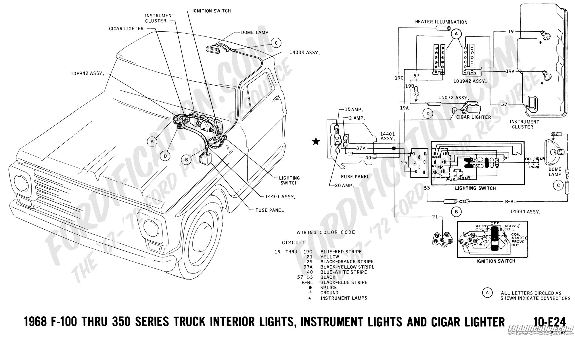 hight resolution of 1968 f 100 thru f 350 interior lights instrument lights and cigar lighter