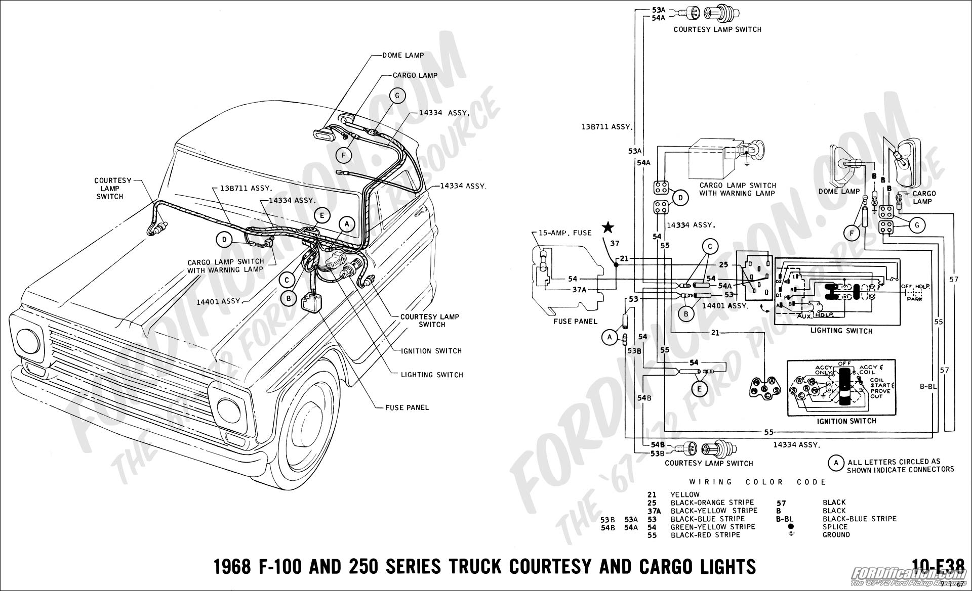 hight resolution of ford truck technical drawings and schematics section h wiring1968 f 100 and f 250 courtesy and