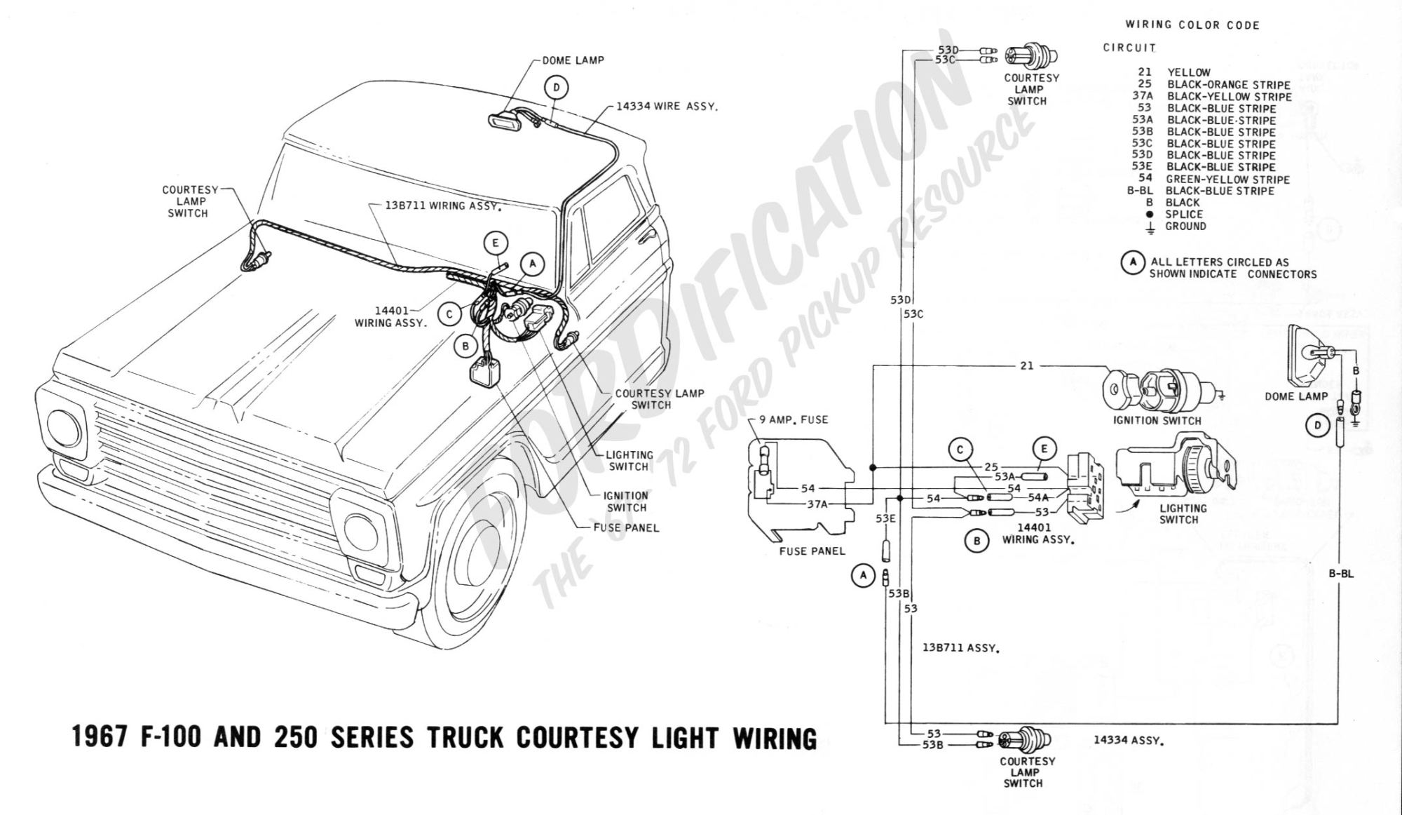 hight resolution of ford truck technical drawings and schematics section h wiring1967 f 100 f 250 courtesy light