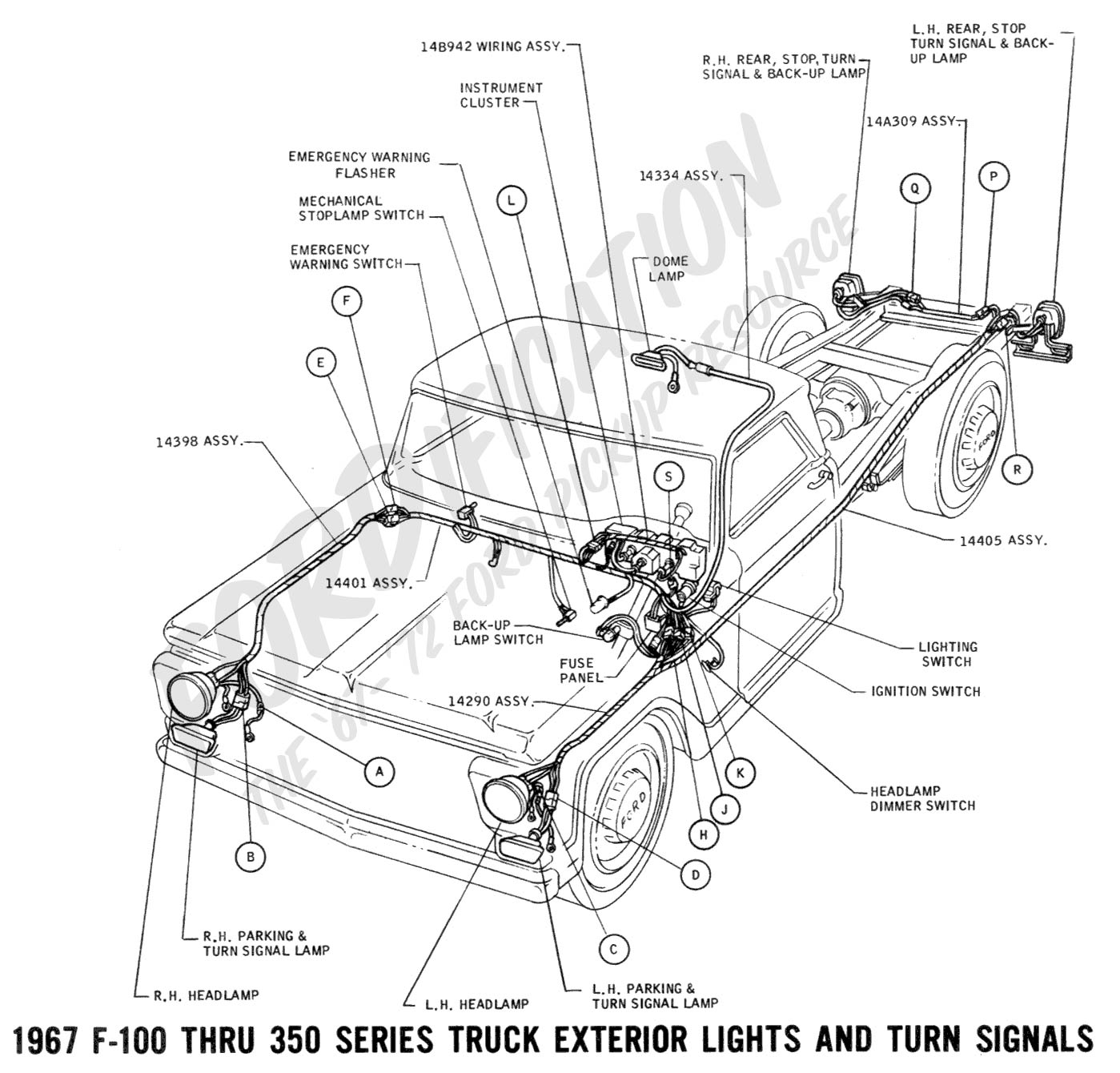 hight resolution of 1967 f 100 thru f 350 exterior lights and turn signals 01