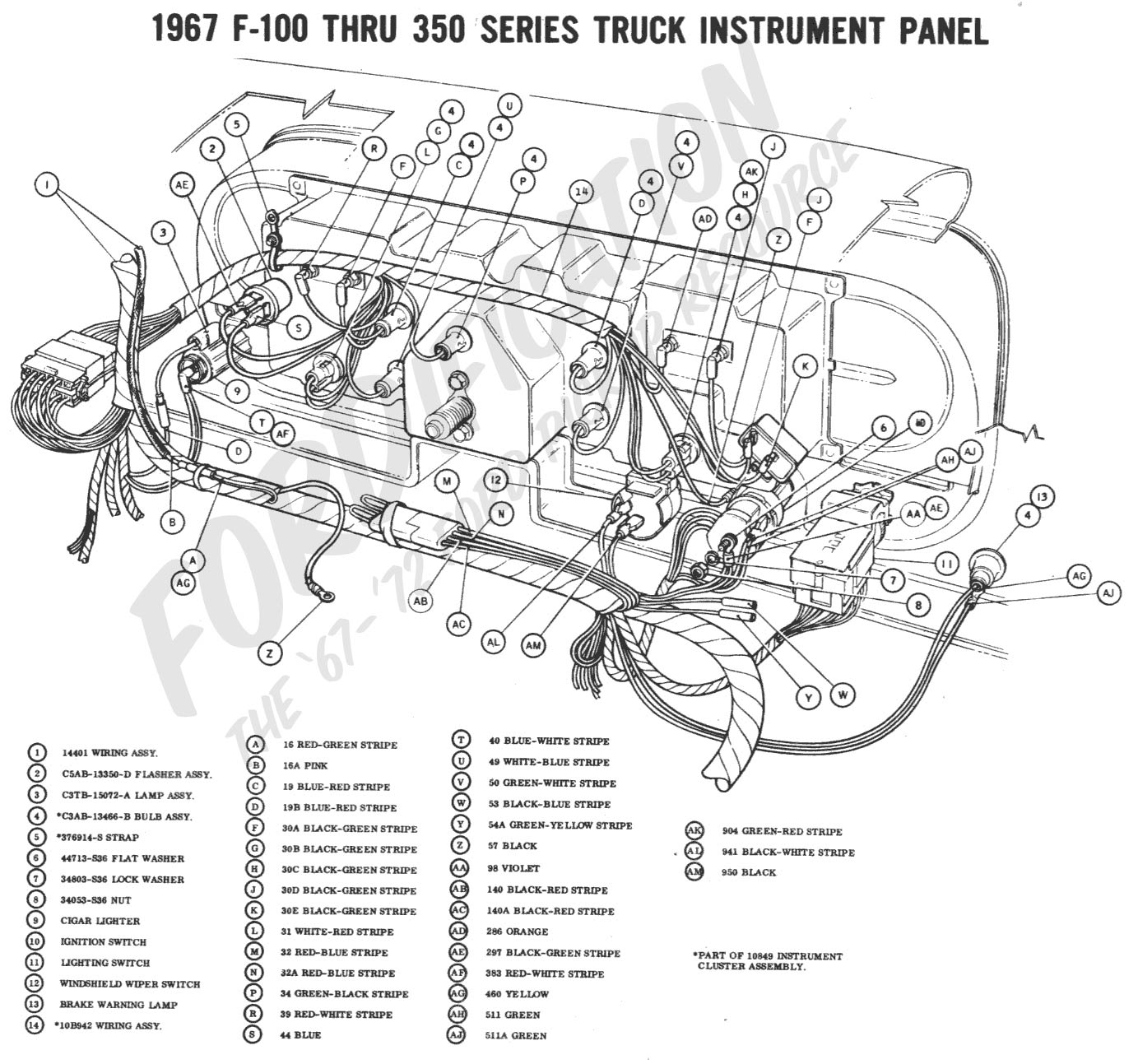 hight resolution of 1967 f 100 thru f 350 instrument panel 1967 master wiring diagram