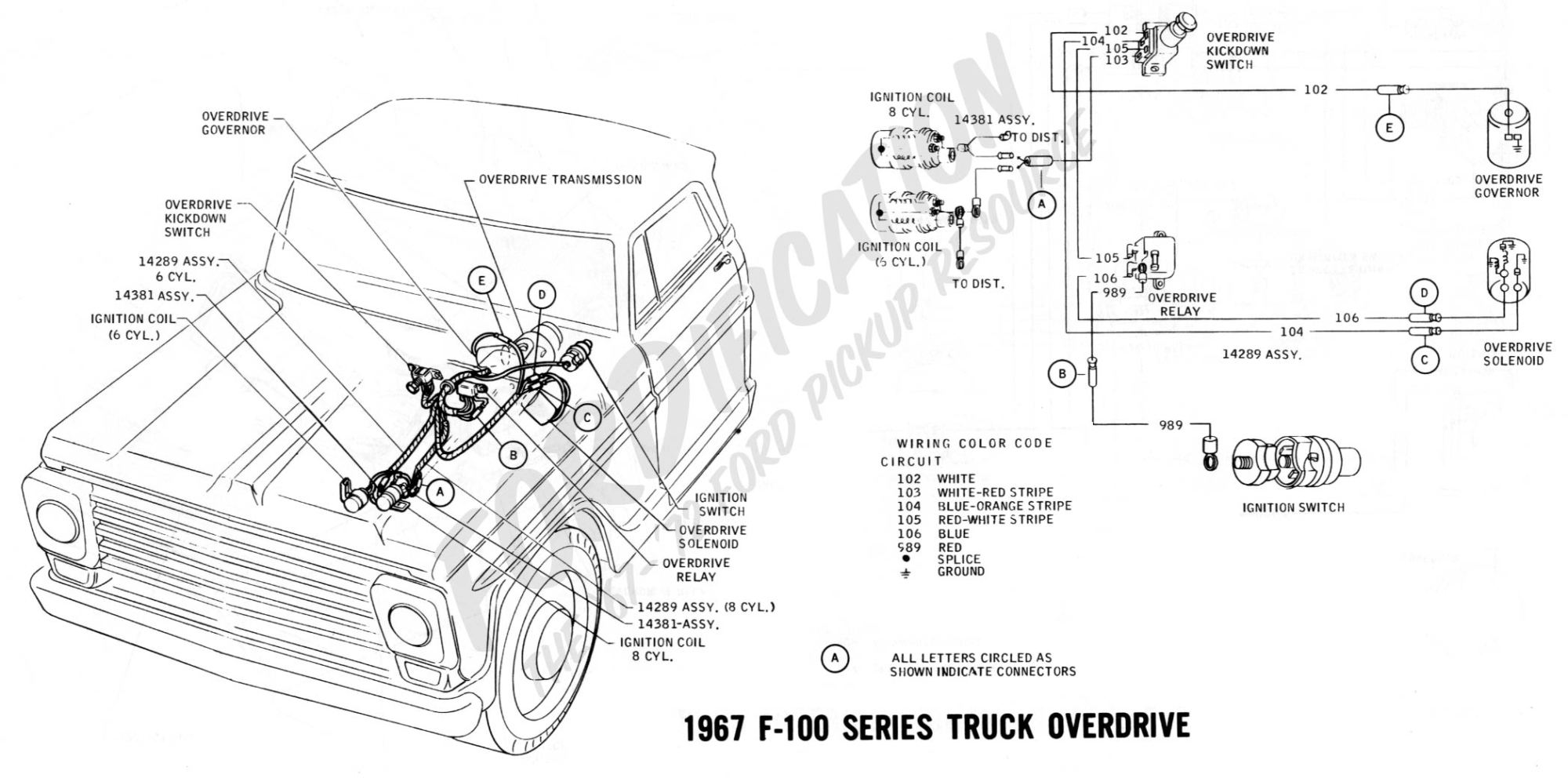 hight resolution of ford truck technical drawings and schematics section h wiring1967 f 100 series overdrive 1968 wiring schematics