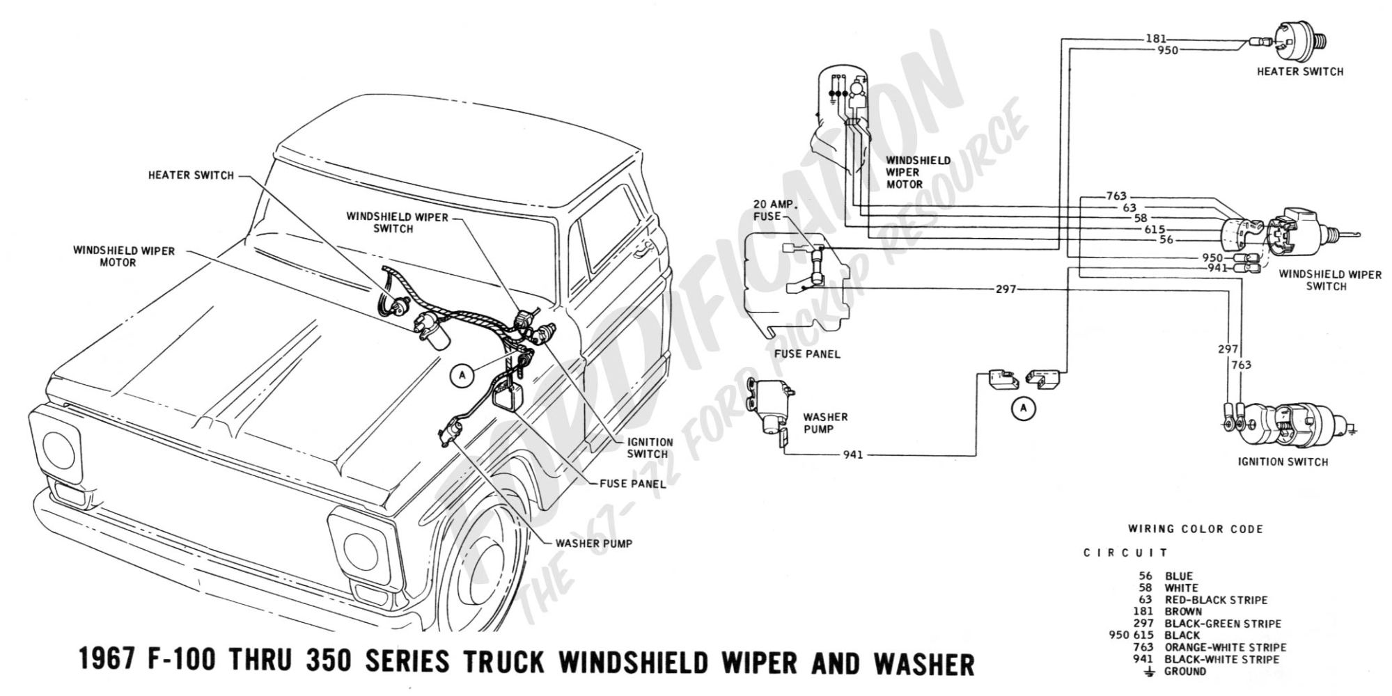 hight resolution of 1967 f 100 thru f 350 windshield wiper and washer ford truck technical drawings and schematics