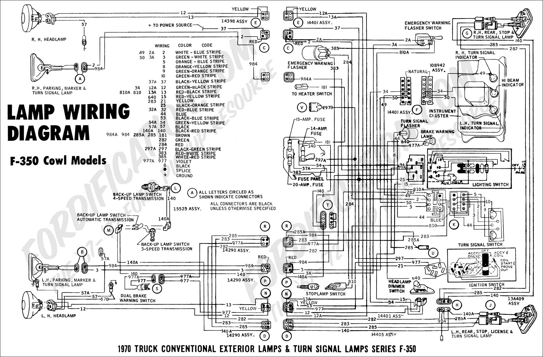 hight resolution of 1970 f 350 cowl models lamp wiring 01
