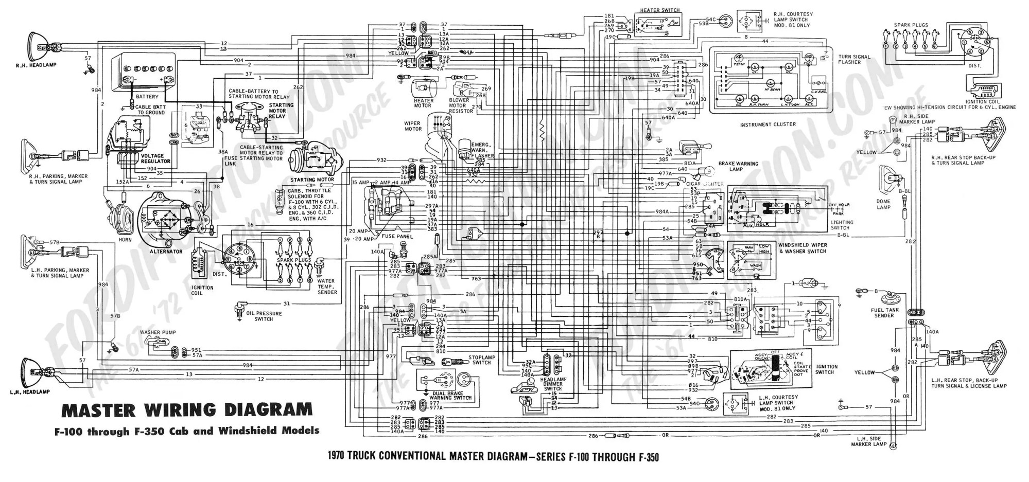 hight resolution of 1970 f 100 f250 master diagram