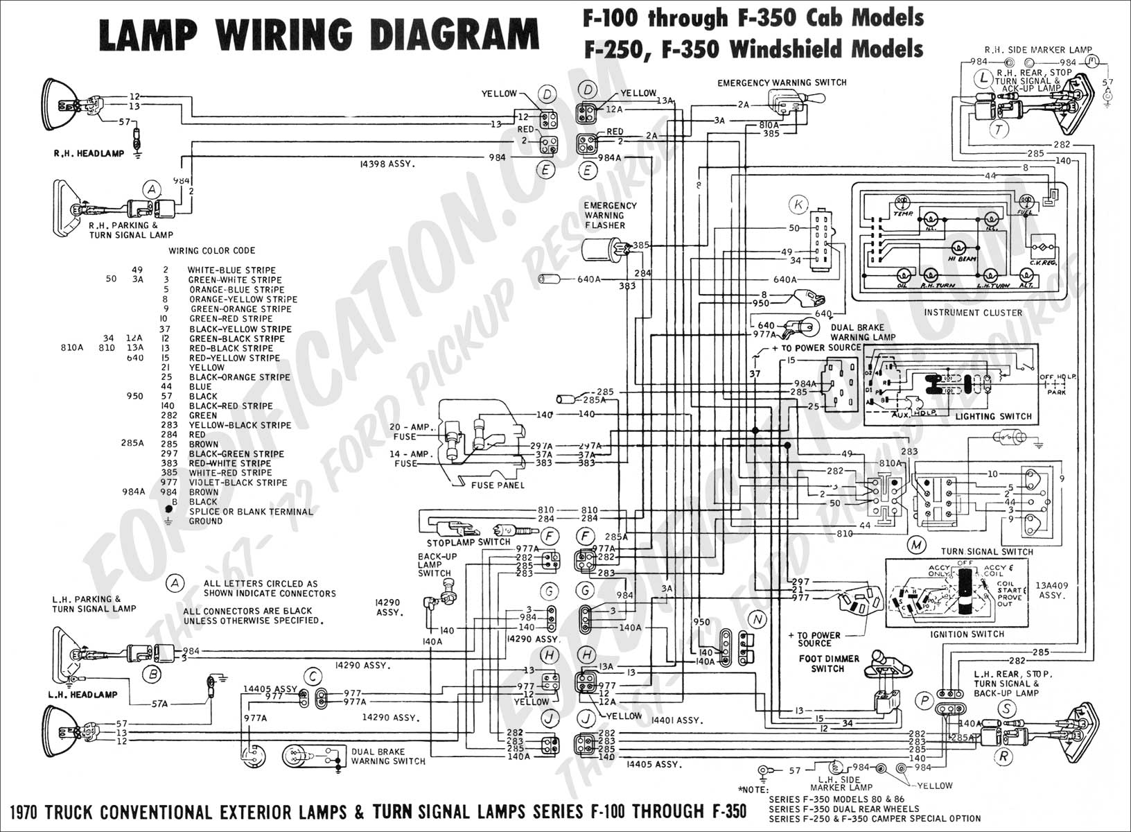 hight resolution of 1970 f 100 f250 lamp wiring 01