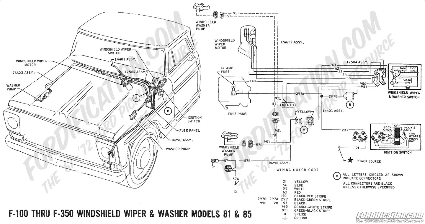 hight resolution of  ford f 350 ac wiring diagram 1969 f 100 thru f 350 windshield washer pump models 81 85