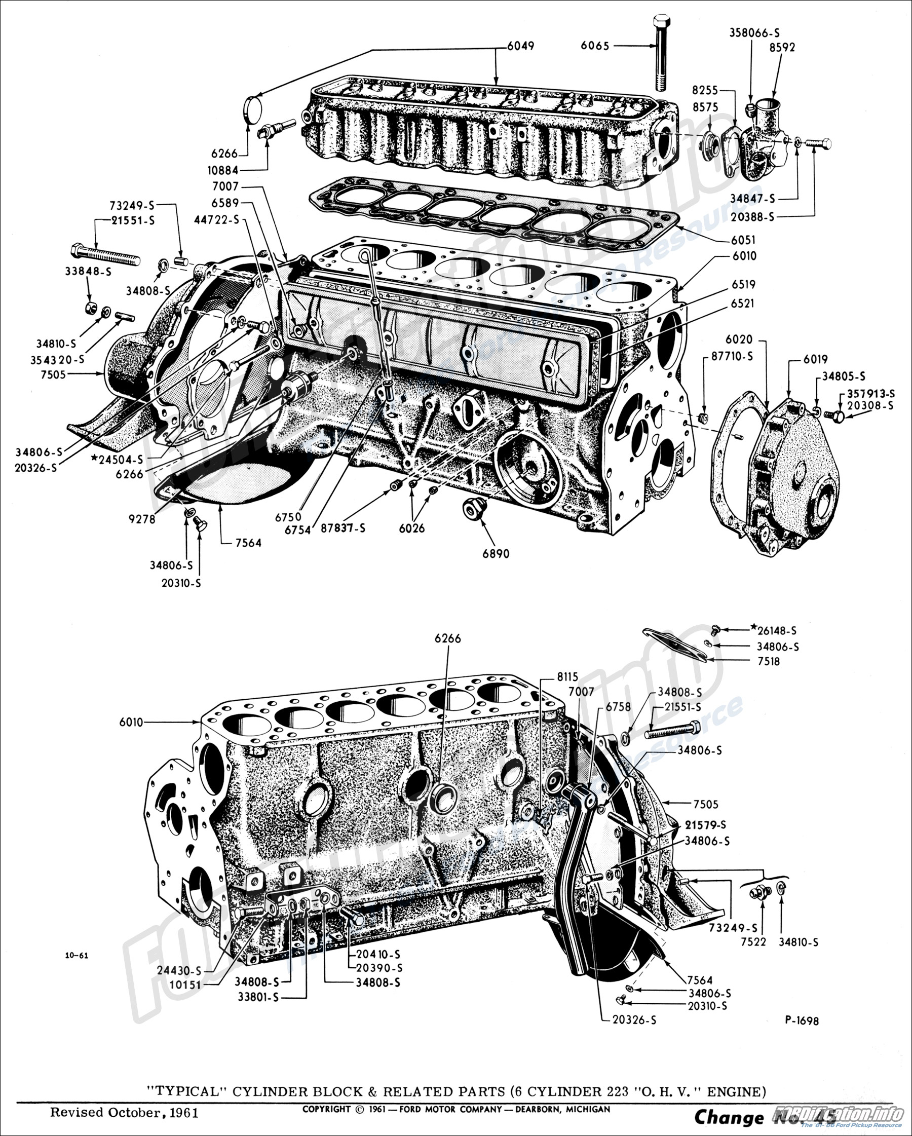 hight resolution of  typical cylinder block related parts 6 cylinder 223 o h v engine
