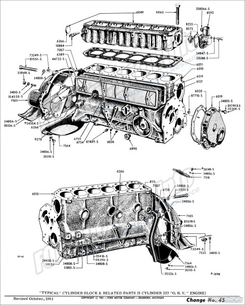 small resolution of  typical cylinder block related parts 6 cylinder 223 o h v engine