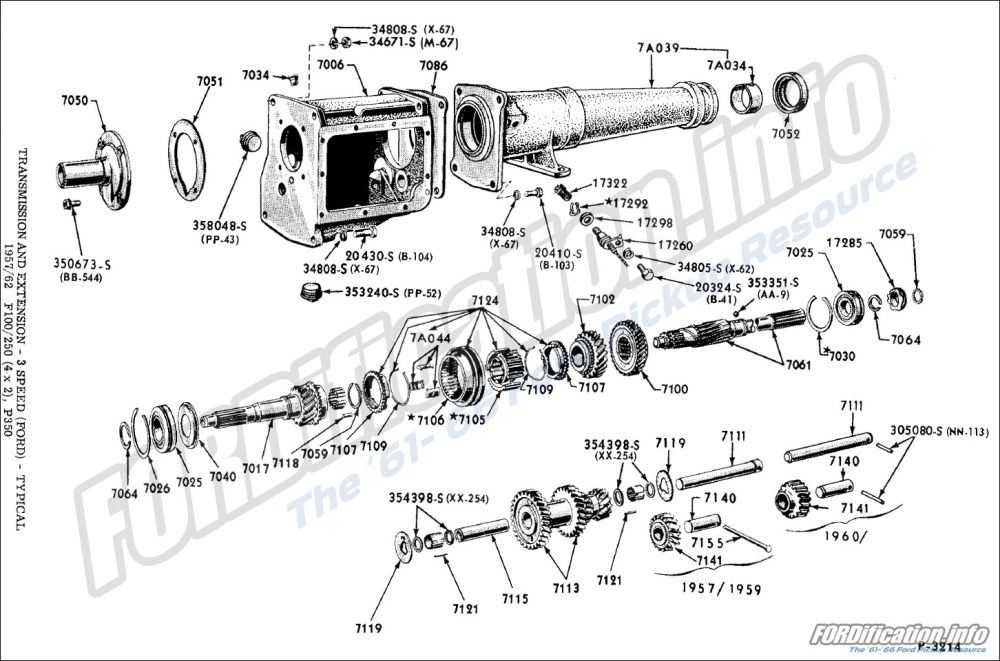 medium resolution of transmission and extension 3 speed ford typical 1957 62 f100 250 4x2 p350