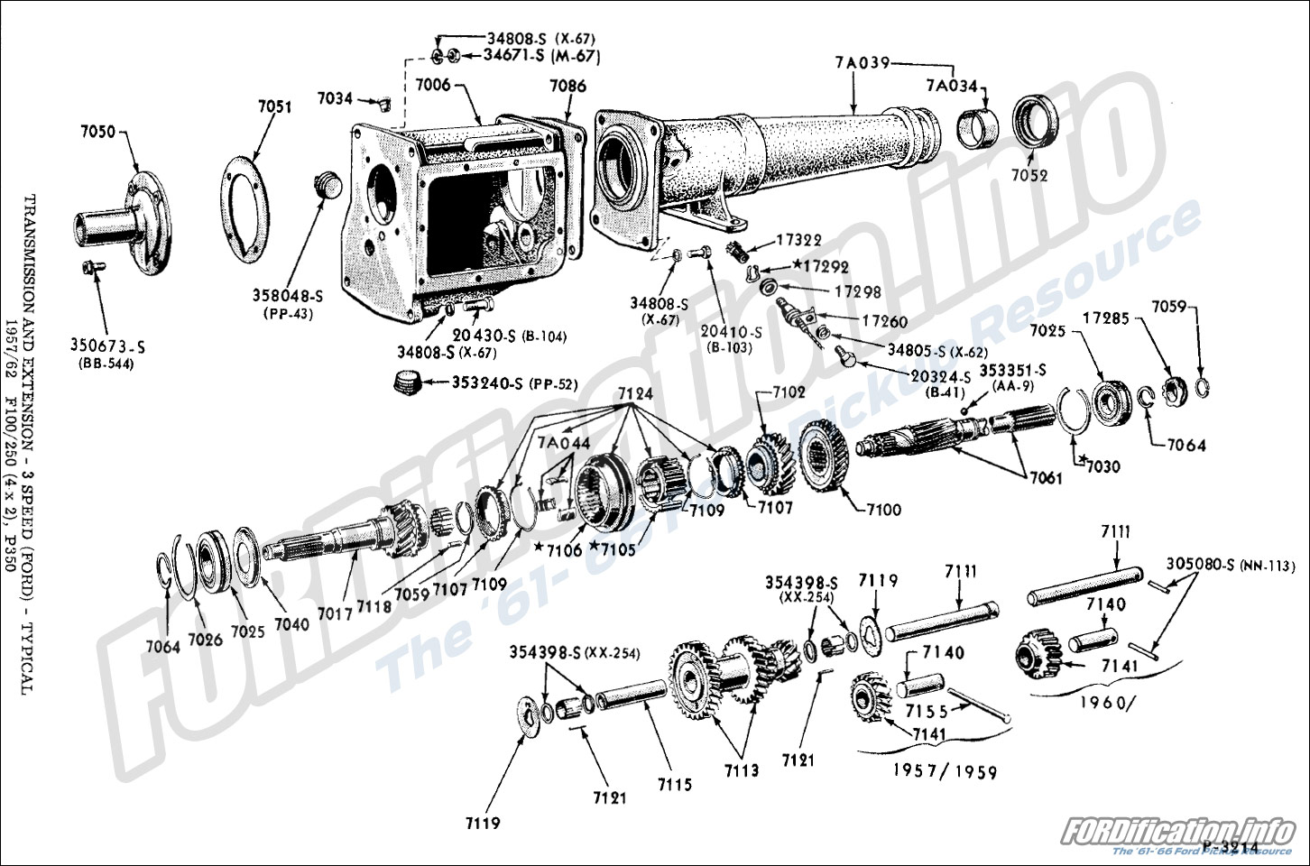 hight resolution of transmission and extension 3 speed ford typical 1957 62 f100 250 4x2 p350