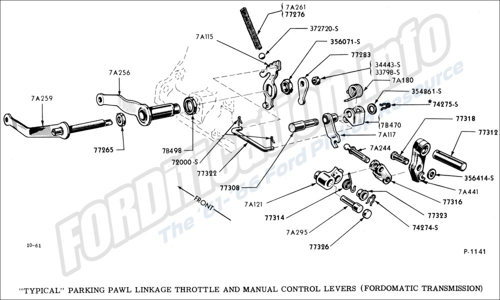 medium resolution of  typical parking pawl linkage throttle and manual control levers fordomatic transmission
