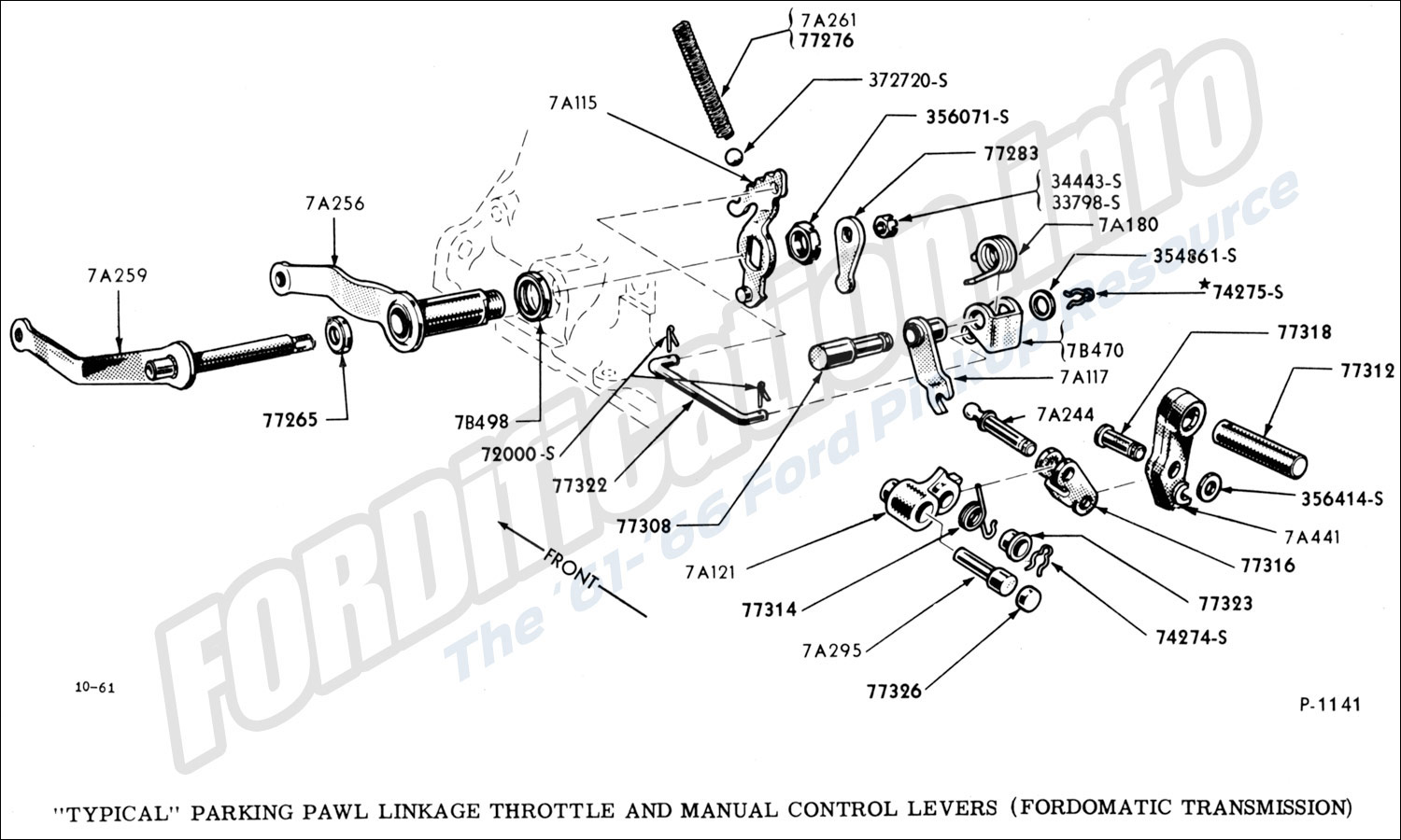 hight resolution of  typical parking pawl linkage throttle and manual control levers fordomatic transmission