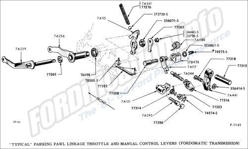 small resolution of  typical parking pawl linkage throttle and manual control levers fordomatic transmission