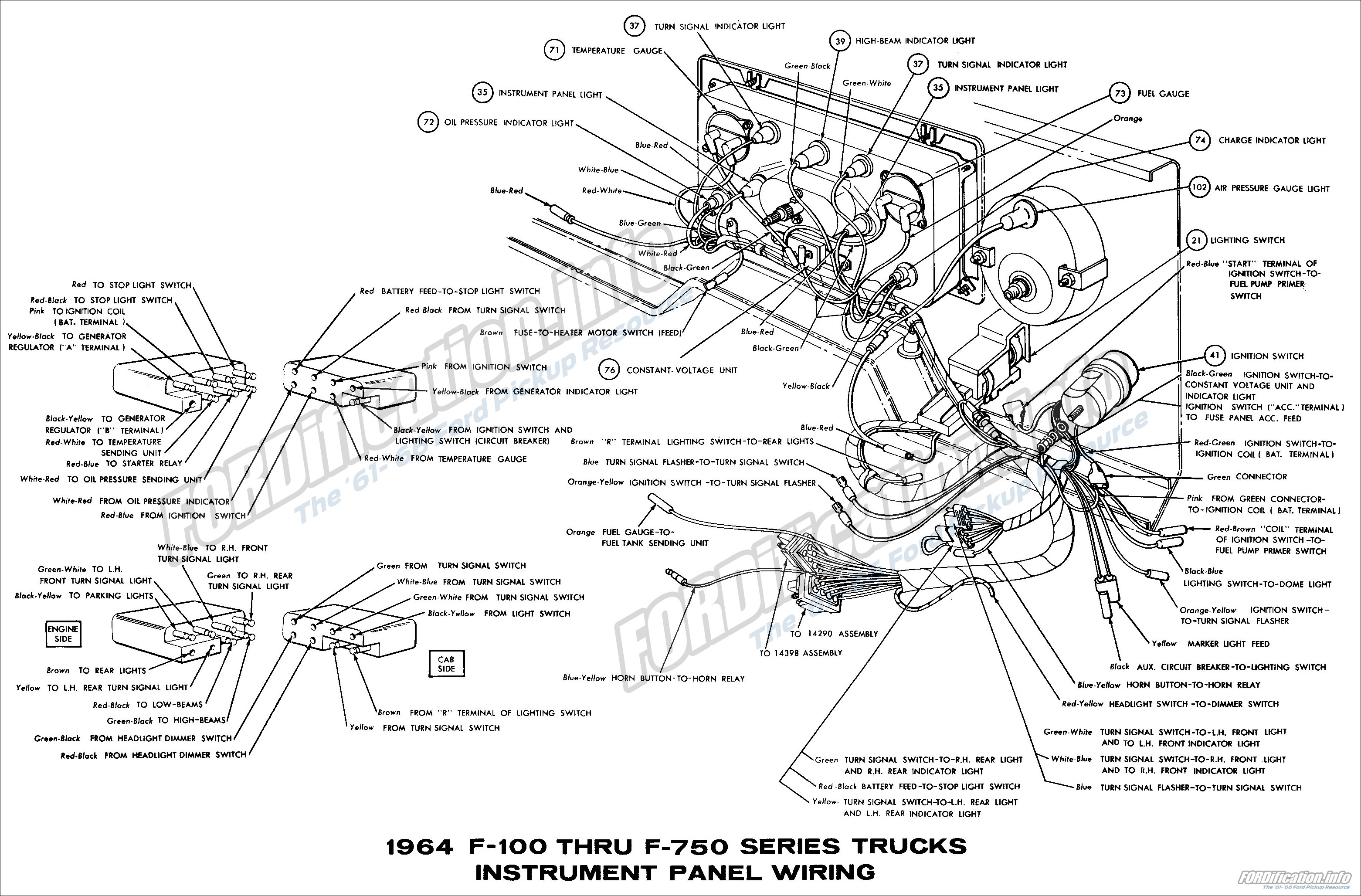 1971 Ford F100 Temperature Sending Wiring Harness : 49