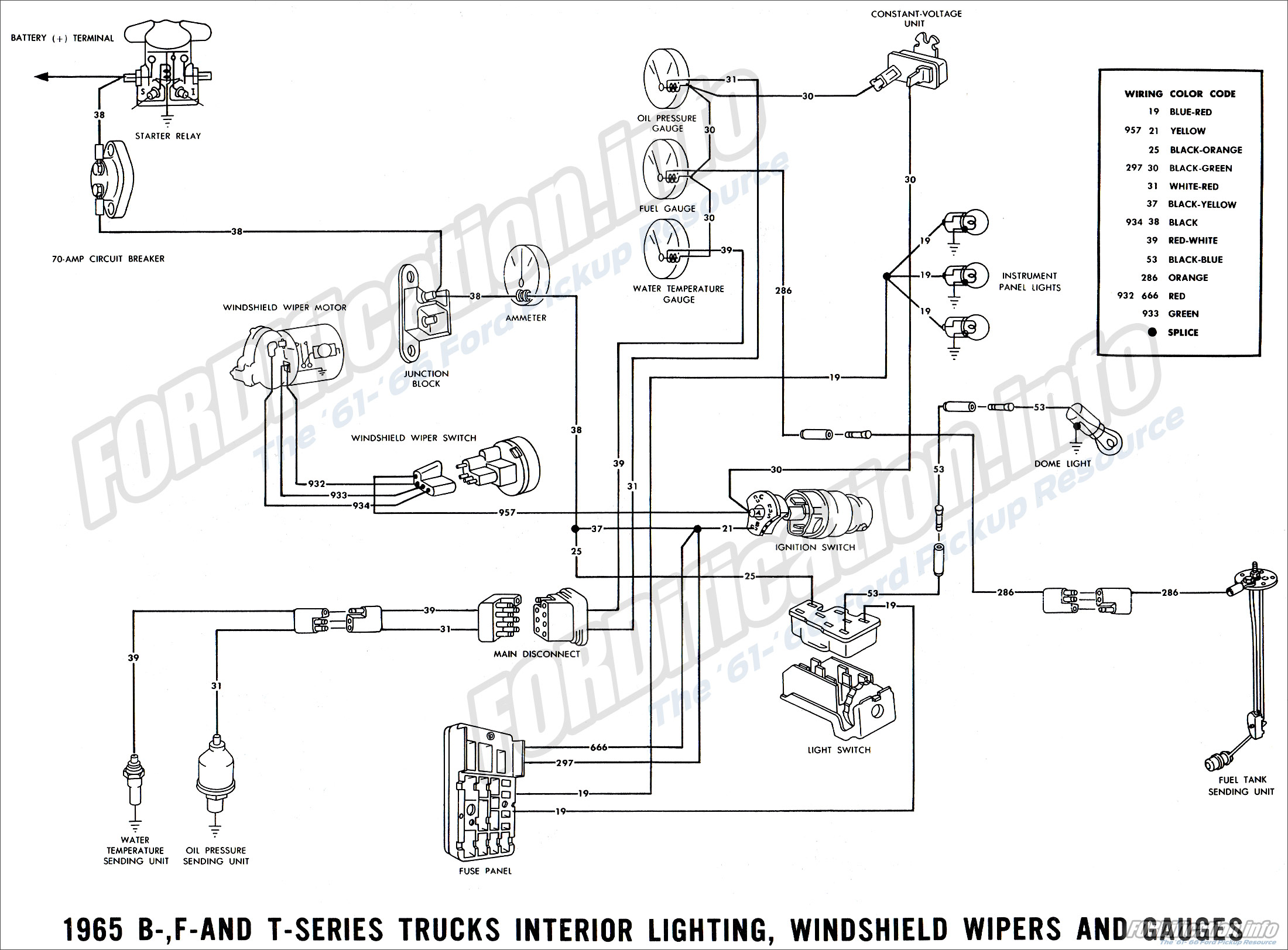 ford 4000 tractor wiring diagram 2003 vw passat 1965 truck diagrams - fordification.info the '61-'66 pickup resource