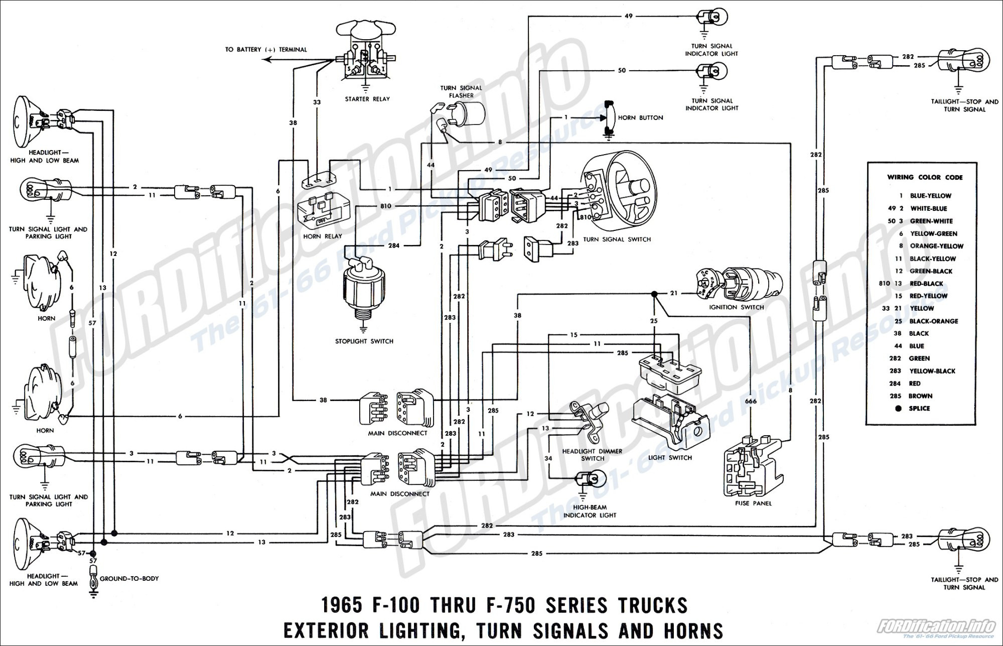 hight resolution of 1965 f 100 thru f 750 series trucks exterior lighting turn signals and horns