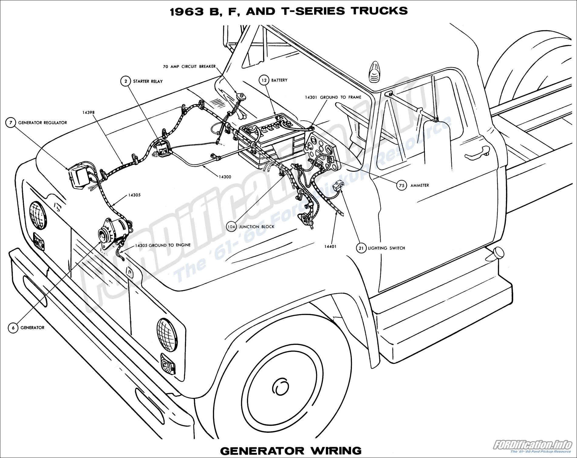 hight resolution of 1963 b f and t series trucks generator wiring