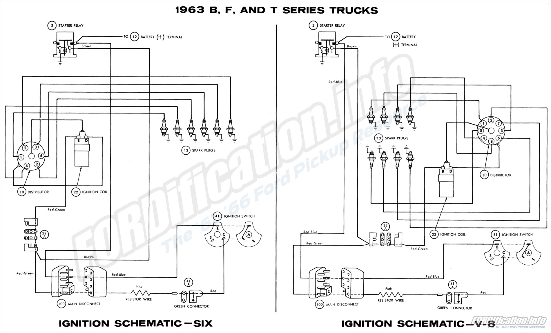 hight resolution of 1963 b f and t series trucks ignition schematics six and v8