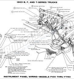 1963 b f and t series trucks instrument panel wiring models f100 thru f750 [ 1900 x 1332 Pixel ]