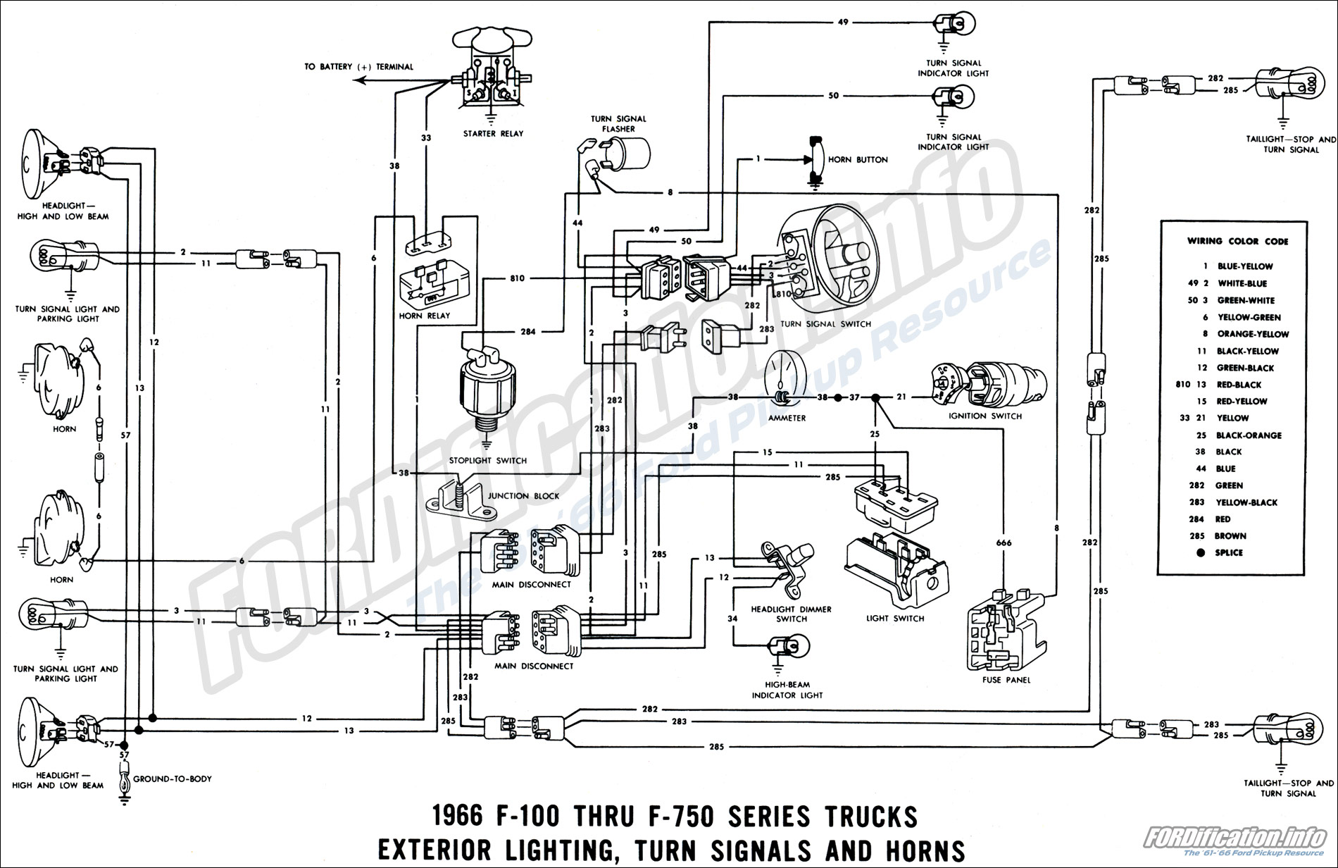 hight resolution of 1966 ford truck wiring diagrams fordification info the u002761 u0027661966 exterior lighting turn