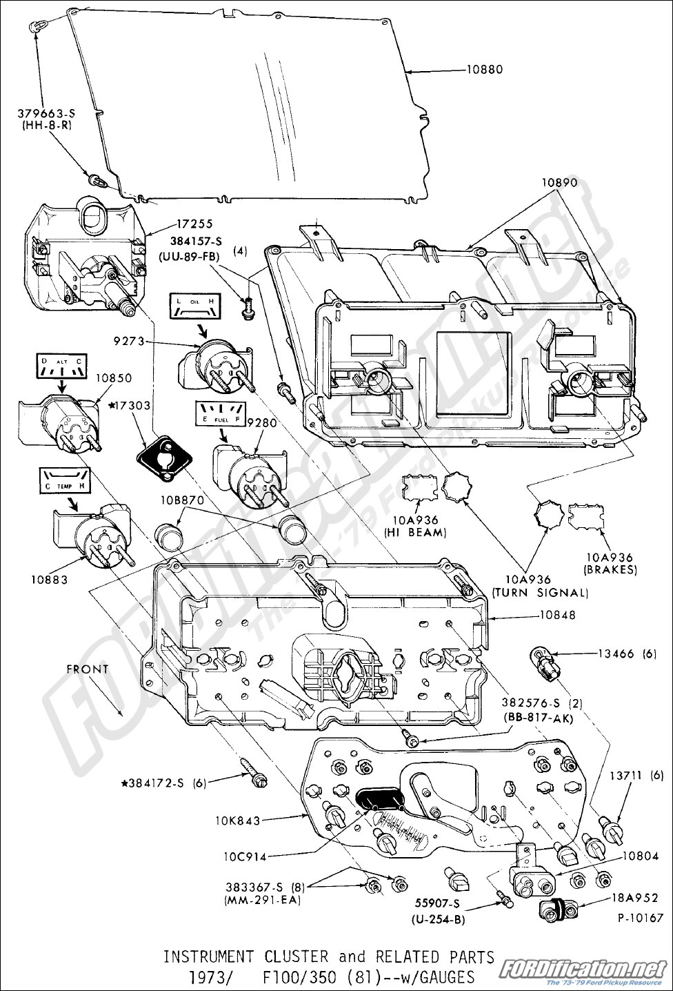 medium resolution of instrument cluster and related parts 1973 1979 f100 350 81 with gauges