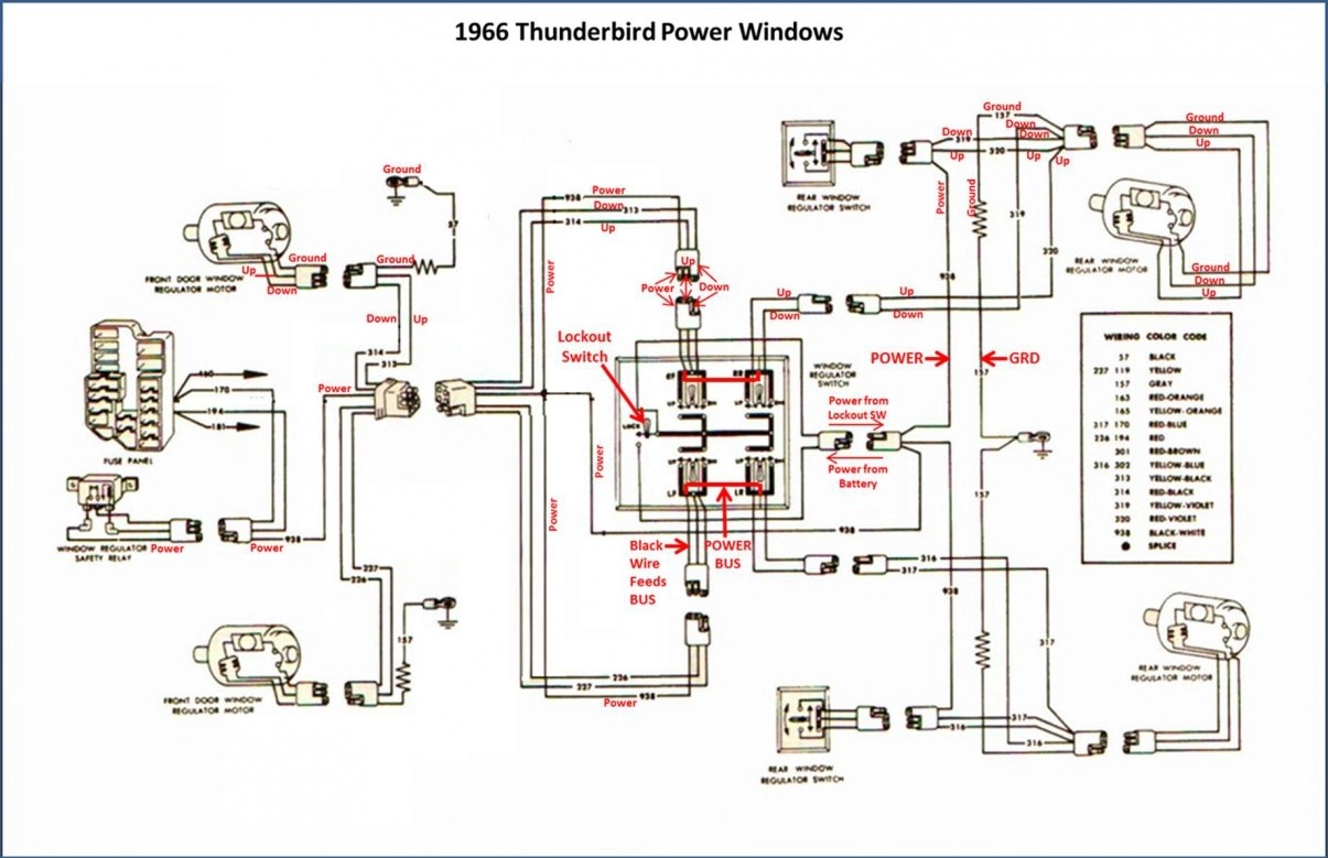 ford can bus wiring diagram focus stereo power window conversion - 1966 thunderbird switches in galaxie muscle forums : ...