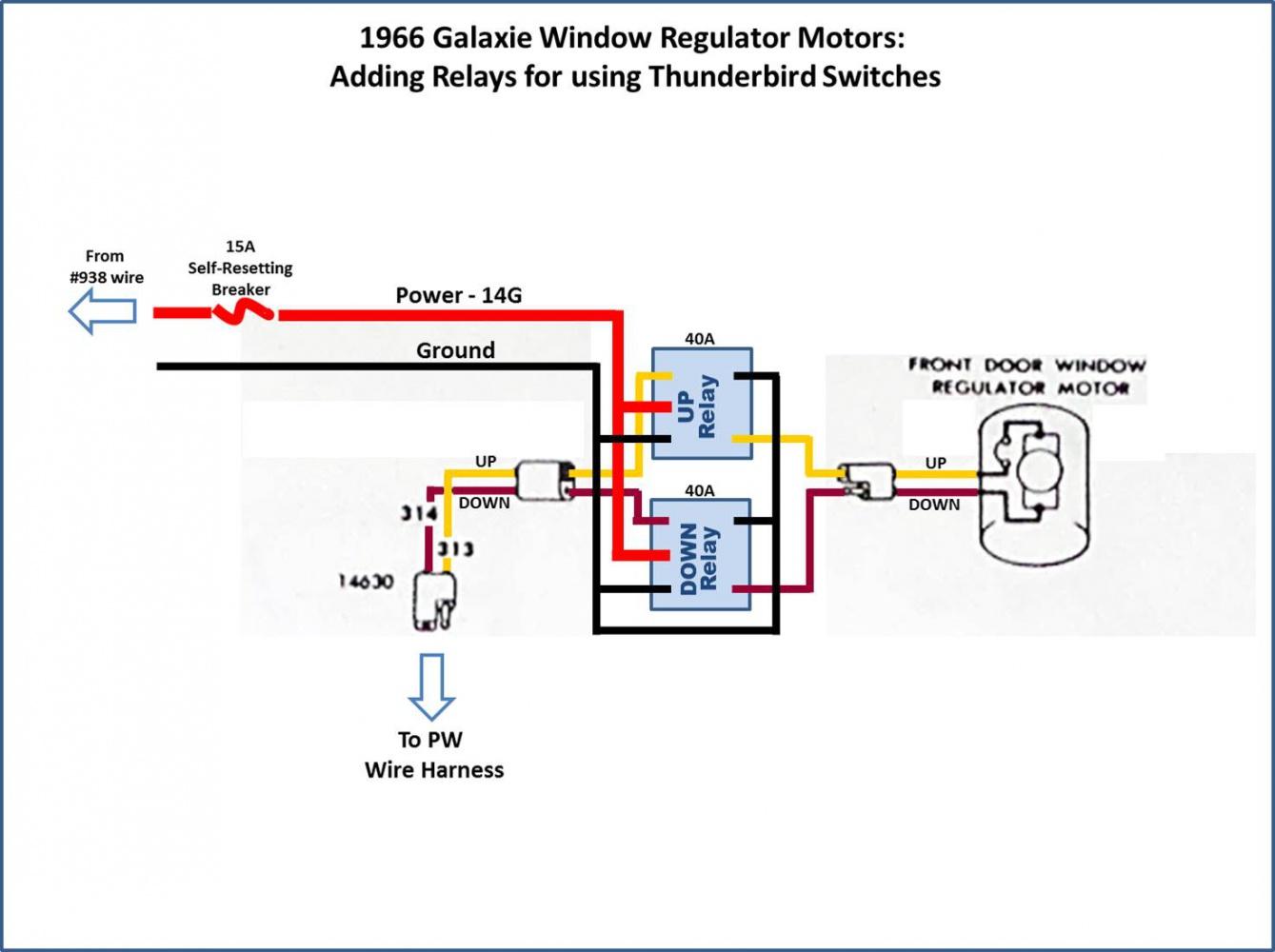 1962 Corvette Wiring Diagram Power Window Conversion 1966 Thunderbird Switches In