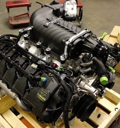 here s the roush supercharger installed on the coyote crate engine from the rear note the spec clutch and the factory 5 0 liter mustang gt tubular exhaust  [ 1200 x 800 Pixel ]