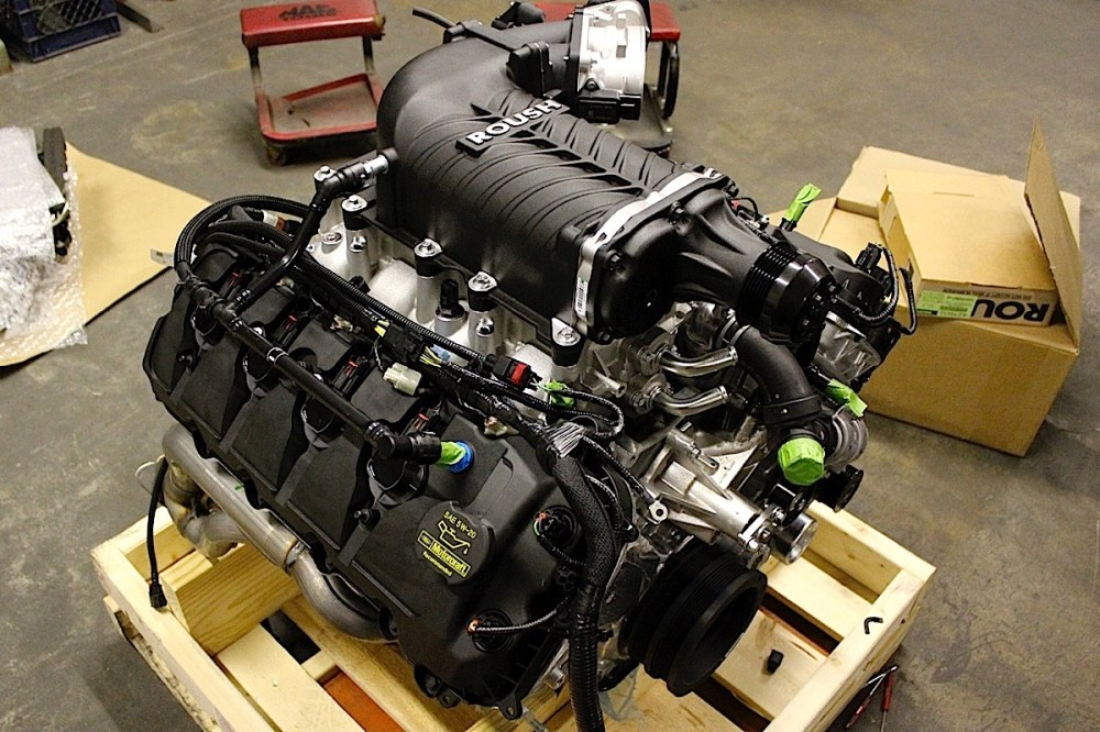 medium resolution of here s the roush supercharger installed on the coyote crate engine from the rear note the spec clutch and the factory 5 0 liter mustang gt tubular exhaust