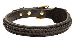 Braided leather dog collar 1 inch wide - C47
