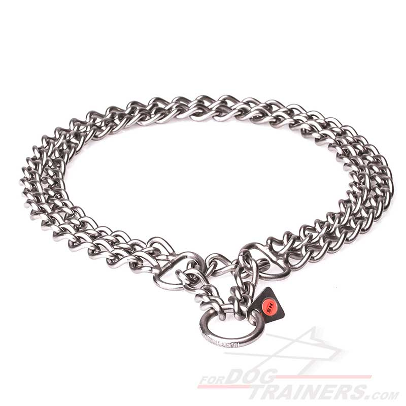 """""""Double Chain"""" Brushed Stainless Steel Dog Collar with 1/9"""
