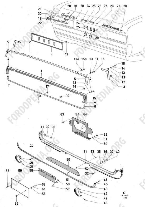 Ford Consul/Granada MkI (1972-1975) parts list: A10.30