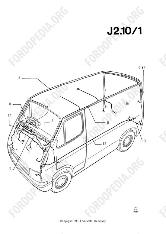 Ford Transit MkIII (1985-1991) parts list: J2.10