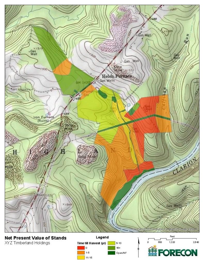 ForestSim map of Peak NPV status